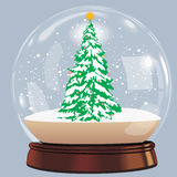Vector illustration of snow globe ball realistic new year chrismas object isolated on white with shadow Stock Images