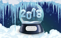 Vector illustration of snow globe ball realistic new year chrismas object  Royalty Free Stock Photo