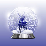 Vector illustration of snow globe with a Christmas. Vector illustration of snow ball with a Christmas deer and snow. New Year's ball with Christmas deer with Stock Photography