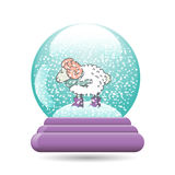 Vector illustration of snow globe with a Christmas. Vector illustration of snow ball with a Christmas sheep, isolated on white background Stock Images