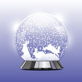Vector illustration of snow globe with a Christmas rabbit. Vector illustration of snow ball with a Christmas rabbit and snow. New Year's ball with Christmas Stock Photos