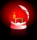 Vector illustration of a snow - globe over white. Globe over red with candle and present Royalty Free Stock Images