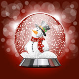 Vector illustration of snow globe with a snowman. Vector illustration of snow ball with a snowman and snow. New Year's ball with Christmas snowman with Stock Photo