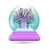 Vector illustration of snow globe with a tree. Vector illustration of snow ball with a tree, isolated on white background Royalty Free Stock Photography