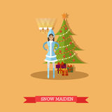 Vector illustration of Snow Maiden near New Year tree Royalty Free Stock Image