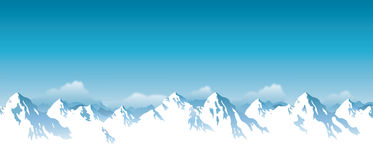 Vector illustration of snowcapped mountains. Drawing of  snowcapped mountain range background Royalty Free Stock Photos