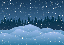 Vector illustration. Snowdrifts on the background of trees and falling snow. Royalty Free Stock Photos