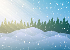 Vector illustration. Snowdrifts on the background of trees and falling snow. Royalty Free Stock Photo
