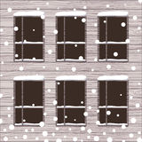 Vector illustration of snowed wooden wall with windows. Royalty Free Stock Photos