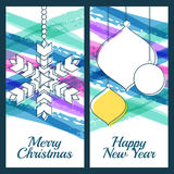 Vector illustration of snowflake, fir tree toys, baubles and blu. E watercolor stripes background. Design for Christmas, New Year greeting card, invitation Royalty Free Stock Photography