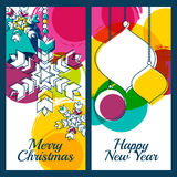 Vector illustration of snowflake, fir tree toys, baubles and col Royalty Free Stock Images