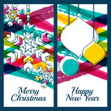 Vector illustration of snowflake, fir tree toys, baubles and col Royalty Free Stock Photos