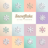 Vector illustration of snowflakes on colored squares Stock Photo