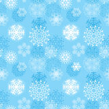 Vector illustration snowflakes seamless pattern, various designs symmetrical snow crystals, made forom hand drawn elements Royalty Free Stock Photography