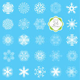 Vector illustration snowflakes set, various designs symmetrical snow crystals, made forom hand drawn elements Stock Photo