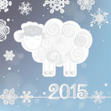 Vector illustration of Snowflakes and sheep, symbol of 2015 on the Chinese calendar. Royalty Free Stock Photos