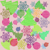 Vector illustration snowflakes spruce toys. Vector illustration colored pattern snowflakes spruce toys Royalty Free Stock Photography