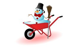 Vector illustration the snowman Stock Photography