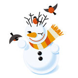 Vector illustration of a snowman. With bullfinch Royalty Free Illustration