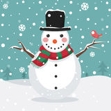 Vector Illustration Of A Snowman Stock Image