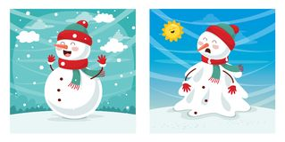 Vector Illustration Of Snowman. Eps 10 Royalty Free Stock Image