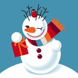 Vector illustration of a snowman Stock Photo