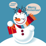 Vector illustration of a snowman. With a gift Stock Photos