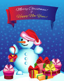 Vector illustration Snowman with gifts Stock Images