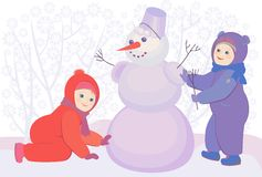 Vector illustration of a snowman and kids Stock Image