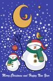 Vector illustration of snowman and moon Royalty Free Stock Images