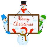 Snowmen with signboard. Vector illustration of snowmen with signboard isolated on white background. Merry Christmas greeting card Stock Photo