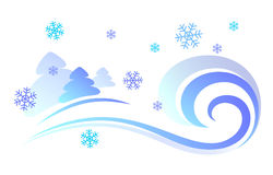 Vector illustration of a snowstorm. Vector illustration of a snowstorm and spruce. Blue blizzard day with snowflakes, wind Royalty Free Stock Photography