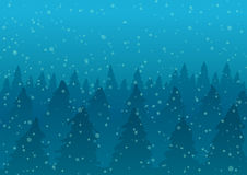 Vector illustration. Snowy forest in fog and falling snow. Stock Images