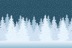 Vector illustration of a snowy winter forest with coniferous tre Royalty Free Stock Photography