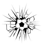 Soccer ball coming in cracked wall Royalty Free Stock Photos