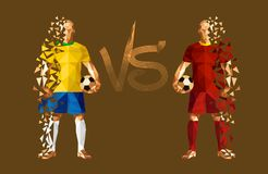 Vector illustration soccer football player. Low-poly style brazil versus belgium Stock Image