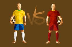 Vector illustration soccer football player. Low-poly style brazil versus belgium Royalty Free Stock Photography