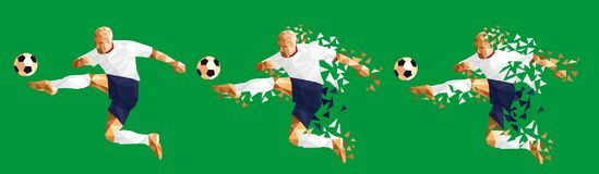 vector illustration soccer football player low-poly style concept kits uniform colour stock illustration