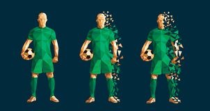 Vector illustration soccer football player low-poly style concep stock photography