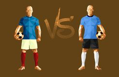 Vector illustration soccer football player. Low-poly style france versus uruguay Stock Photos