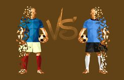 Vector illustration soccer football player. Low-poly style france versus uruguay Stock Photography
