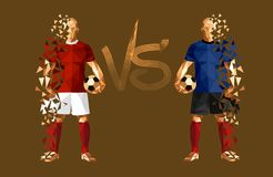 Vector illustration soccer football player. Low-poly style russia versus croatia Royalty Free Stock Photos