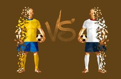 Vector illustration soccer football player. Low-poly style sweden versus engand Royalty Free Stock Image