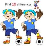 Vector illustration Soccer player. Vector illustration Soccer boy player find differences Stock Image