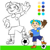 Vector illustration, soccer player, cartoon. Vector illustration soccer player cartoon concept coloring book Royalty Free Stock Image