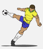 Vector illustration Soccer player kicking the ball Royalty Free Stock Photography