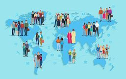Vector illustration of social and demographic world map on blue background. Multi ethic people in groups. Stock Photo