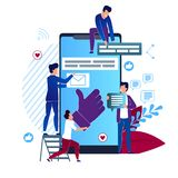 Vector Illustration Social Media Cartoon Flat. Closeup Big Smartphone. on Electronic Device Screen Like Sign. Men Gather on Screen Smartphone Messages Online royalty free illustration