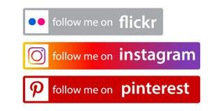 Follow us on instagram / pinterest. Vector illustration of social media icons follow us on instagram / pinterest on white background stock illustration