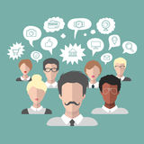 Vector illustration of social media icons in speech bubbles with group of people in trendy flat style. Stock Images